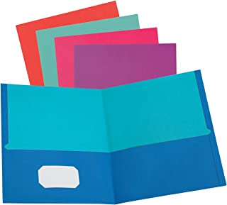 Oxford 2 Pocket Folders, Textured Paper, Assorted Colors (Blue, Purple, Teal, Orange, Pink), Contrasting Interior, Letter ...