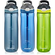 Contigo AUTOSPOUT Straw Ashland Water Bottle, 24 oz, Stormy Weather/Vibrant Lime/Monaco, 3-pack