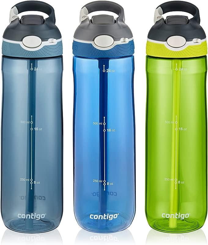 Contigo AUTOSPOUT Straw Ashland Water Bottle 24 Oz Stormy Weather Vibrant Lime Monaco 3 Pack