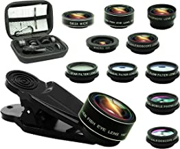 11 in 1 Cell Phone Camera Lens Kit, 0.63Wide Angle Lens+15X Macro+198°Fisheye+2X Telephoto+Kaleidoscope3/6+CPL/Flow/Star/Radial Filter/Universal Clip,for iPhone Samsung Andriod Smartphone