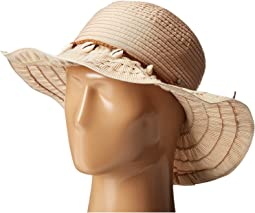 RBL4786 Ribbon Hat with Shell Trim and Wired Edge