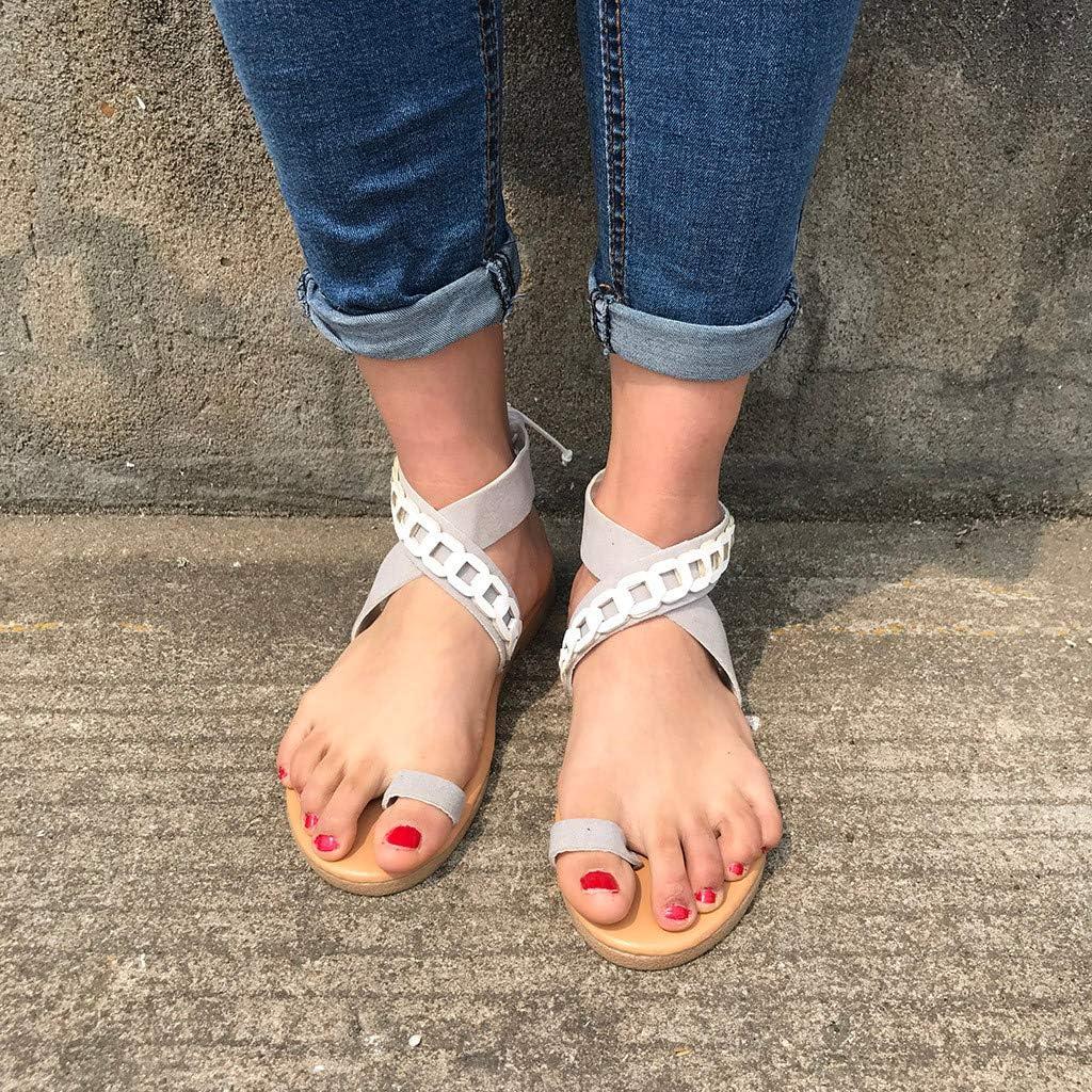 Memela Clearance sale Women Sandals Flat Summer Casual Shoes Ankle Strap Slingback Adjustable Open Toe Shoes