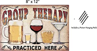UNiQ Designs Group Therapy Practiced Here Vintage Metal Wine Beer Tin Signs - Wine Beer Bar Signs Vintage Beer Wall decor Alcohol Signs -Funny Signs for Bar Wine Beer Decorations Bar Sign Decor 8x12