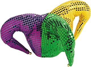 Fun Express - Mardi Gras Sequin Jester Hat for Mardi Gras - Apparel Accessories - Hats - Novelty Piece Hats - Mardi Gras - 1 Piece