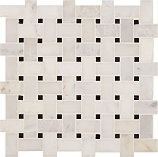MS International AMZ-MD-00003 Arabescato Carrara Basket Weave Tile 12 in. x 12 in. White 10 Piece