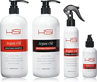 HSI Professional Wet Line Styling Set with Argan Oil Infused Smoothing Shampoo and Conditioner, Thermal Protector 450 and Argan Oil Leave in Treatment, 4 Count