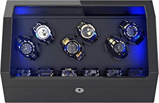 Watch Winder for 12 Automatic Watches with Flexible Watch Pillows, Built-in Led Light, with 6 Oversized Pillows and USB Ca...