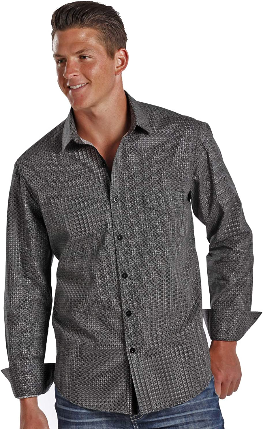 Rock & Roll Cowboy Geometric Print Button Down Shirt Black