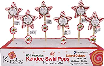 Kandee Swirl Popsv Starz Classic Strawberry Natural Colour Candy Lollipop - Pack of 6