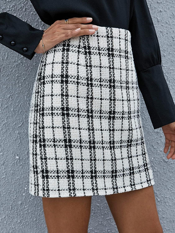 SheIn Women's Elegant Plaid Print High Waist Tweed A Line Short Skirt