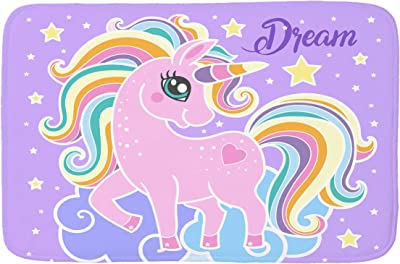 Jiayangzi Pink Cartoon Unicorn Area Rug Waterproof Rugs Washable Carpet Modern Anti-Skid Floor Mat for Dining Room Floor Bedroom 31x20 in