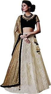 DesiButik's Wedding Wear Alluring Off White Jacquard Silk Lehenga Choli with Dupatta