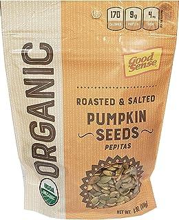 Good Sense | Organic Shelled Pumpkin Seeds (Pepitas) | Roasted and Salted - 6 Ounce (6 OZ) Bag