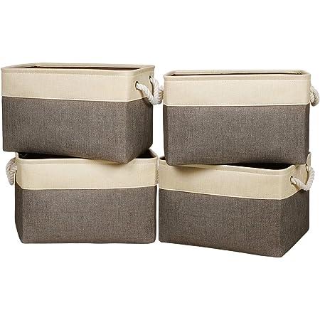 Univivi Bac Rangement Tissu,Panier Rangement Tissu avec Deux Poignées,Peut Stocker des Jouets, des Vêtements, des Sacs, des Chaussures, etc - Marron