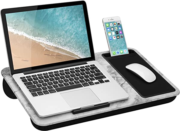 LapGear Home Office Lap Desk With Device Ledge Mouse Pad And Phone Holder White Marble Fits Up To 15 6 Inch Laptops Style No 91501