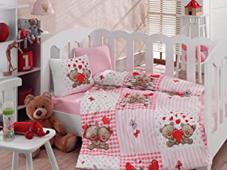 Teddy Bear, 100% Cotton Baby Girls Crib Bedding Baby Duvet Cover Set, Baby Comforter Included, Made in Turkey - 5 Pieces (Teddy Bear Pink)