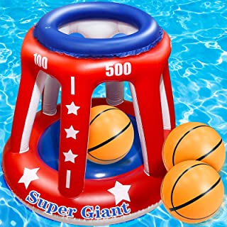 TURNMEON 4 In 1 Set Giant 36'' Inflatable Pool Basketball Hoop with 3 Balls 6 Score Hole Swimming Pool Party Game Toys Kid...