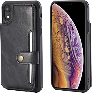 Wallet Case for Apple iPhone XR 6.1inches Apple,Card Cash Holder PU Leather Hand Strap Magnetic Snap Protective Cover Durable Shell Kickstand Soft Black Men Women