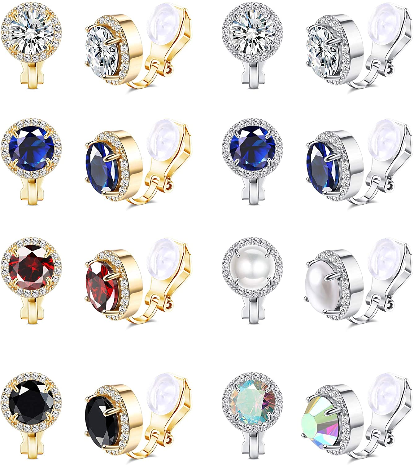 LOYALLOOK 8Pairs Round Clip Earrings for Women Faux Pearl Cubic Zirconia Non Piercing Clip On Earrings Fashion Mixed Color Non Pierced Earrings Set