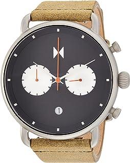 ساعة كرونوجراف انالوج بعقارب وسوار جلد للرجال من ام في ام تي - زيتي
