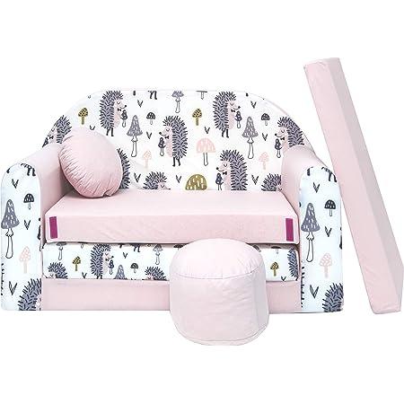 Pro Cosmo Canapé lit avec Pouf pour Enfants HX1 - Rose Clair - 168 x 98 x 60 cm