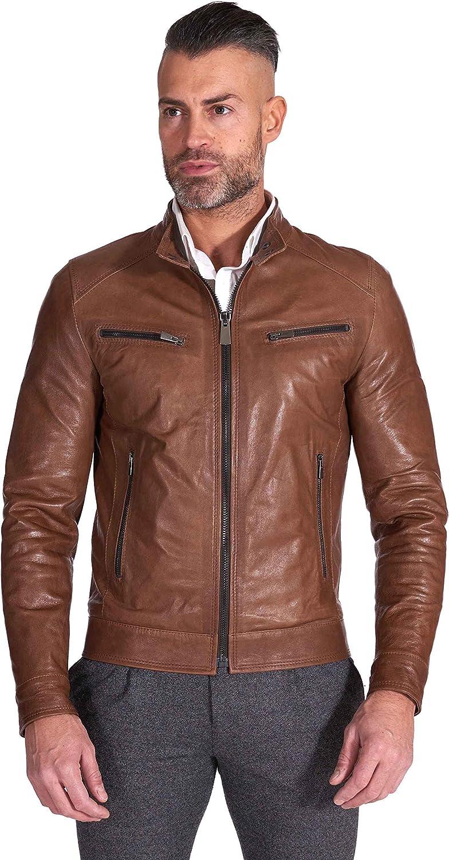 Brown lamb leather biker jacket vintage aspect