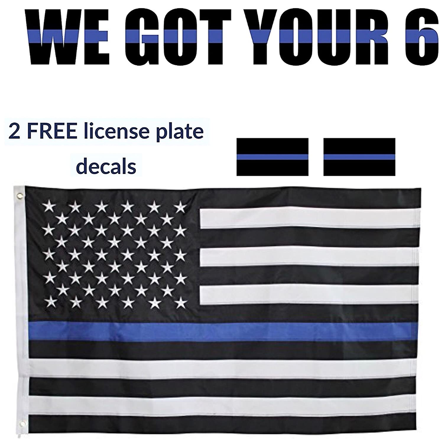 10 Yard Gain BLUE LINE USA FLAG and WE GOT YOUR 6 Vinyl Decal Combo. SUPPORT LAW ENFORCEMENT!