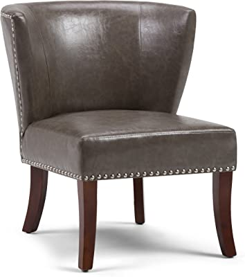 Simpli Home Jamestown 27 inch Wide Transitional Accent Chair in Elephant Grey Bonded Leather