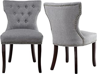 LSSBOUGHT Set of 2 Fabric Dining Chairs Leisure Padded Chairs with Brown Solid Wooden Legs,Nailed Trim (Gray)