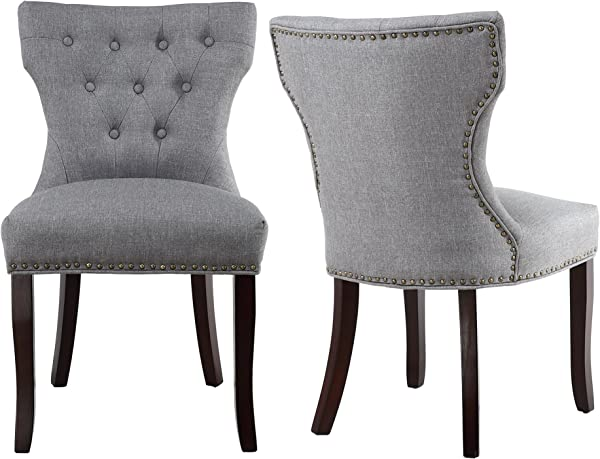 LSSBOUGHT Set Of 2 Fabric Dining Chairs Leisure Padded Chairs With Brown Solid Wooden Legs Nailed Trim Gray