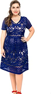 Women's Plus Size Lined Floral Lace Skater Dress - Knee Length Casual Party Cocktail Dress