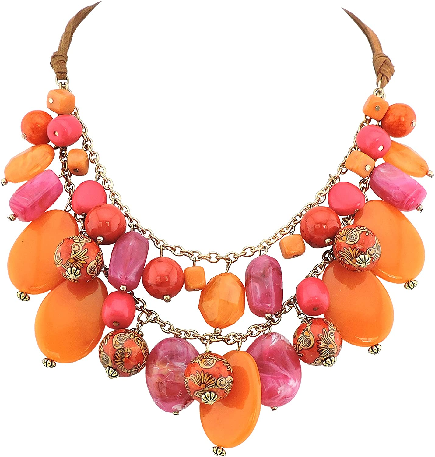 BOCARJEWELRY BOCAR 2 Layer Statement Necklace Chunky Beaded Fashion Necklace for Women Gifts