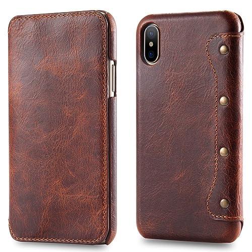 iPhone X Hülle Leder, iPhone X Ledertasche, Bestsky Echtes Leder Flip Schutztasche Fall Kartenfächer Geldbörse Schutzhülle für Apple iPhone X, Dunkel-Braun