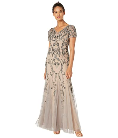 Adrianna Papell Beaded Long Dress with Short Sleeves and Godets (Mercury/Nude) Women