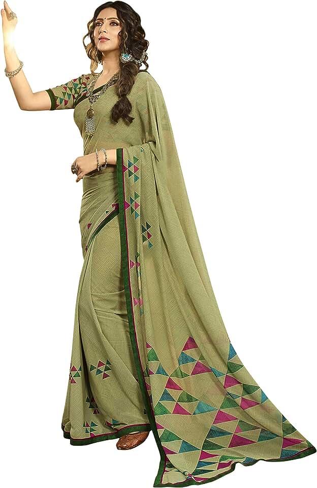 Indian Netra Fashion Women's Georgette Printed Sarees Jacquard Lace Border Work Saree With Blouse Piece(Mehndi) Saree