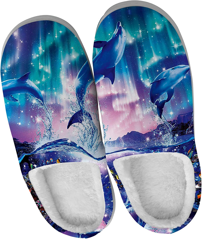 Price reduction 5% OFF UM-II MCKTTC Unisex Dolphin House Galaxy Slippers