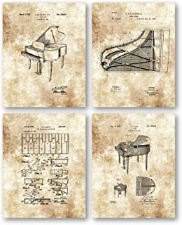 Original Baby Grand Piano Drawings - Music Studio or Practice Room Decor- Set of 4 8 x 10 Unframed Patent Prints - Great Gift for Classical Pianists, Keyboard Players, and Musicians