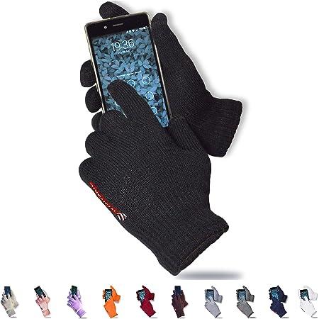 AXELENS Guantes de Invierno Táctiles para Hombre Mujer Térmicos Touch Screen Conducir Antiviento Cálidos Cómodos Regalo Ideal - Negro