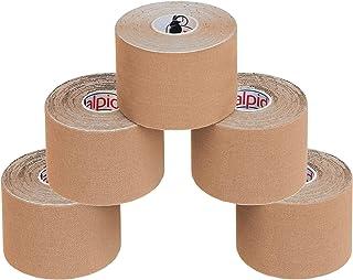 ALPIDEX 5 Rollos Cinta Kinesiología Tape 5 m x 5 cm Cinta Muscular E- Book Ejemplos Aplicación, Color:de color carne