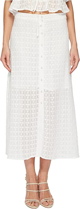 J.O.A. Button Front Flared Midi Skirt