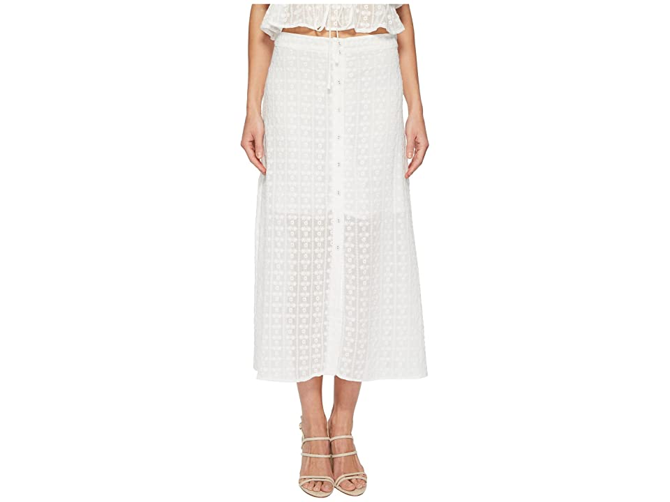 J.O.A. Button Front Flared Midi Skirt (White Eyelet) Women