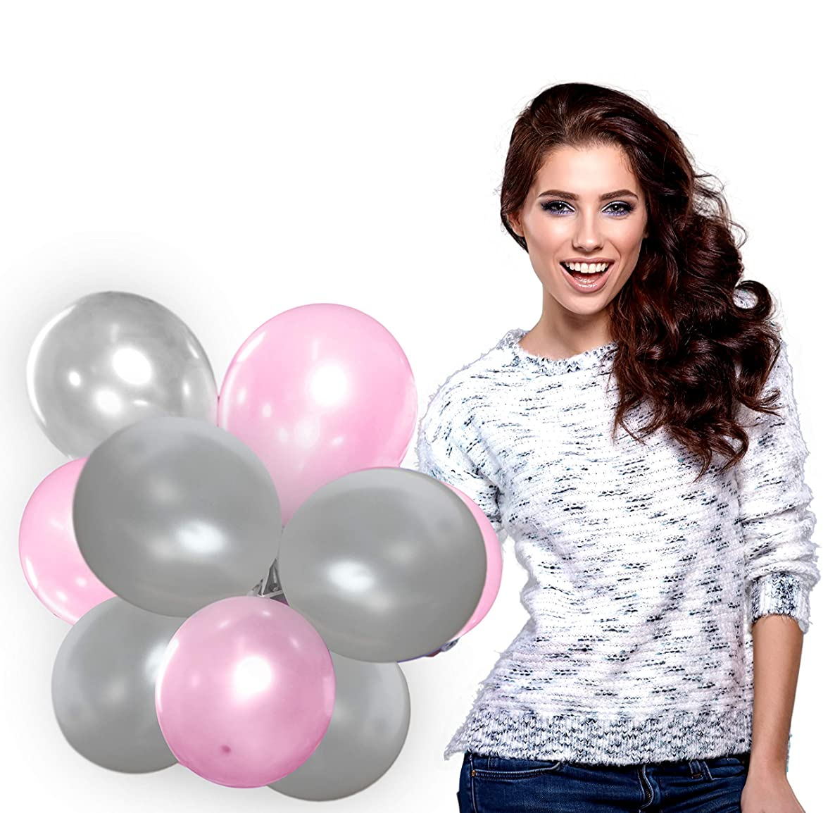 Treasures Gifted Silver and Pink Balloons Set in Metallic Latex for Baby Shower Birthday Wedding Decorations