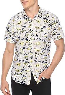 Sykooria Men's Hawaiian Shirt Regular Slim Fit Hawaiian Print Short Sleeves Button Down Aloha Shirts