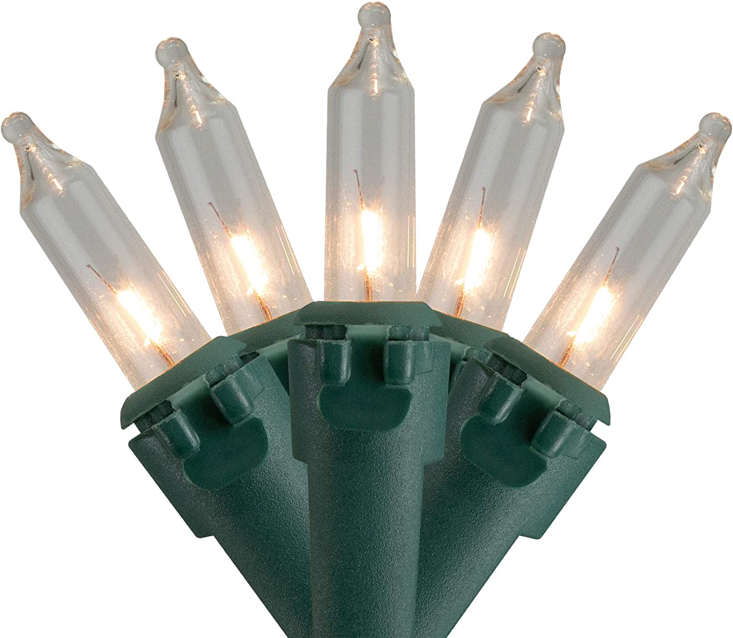 Northlight 50 Count Clear Mini Genuine Free Shipping Christmas ft Seasonal Wrap Introduction 10 Lights Green Wir