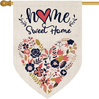 Best AVOIN Home Sweet Home House Flag Vertical Double Sided, Love Heart Navy Blue Flower Floral Flag Yard Outdoor Decoration 28 x 40 Inch Review