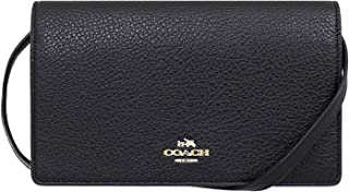 Coach Pebbled Leather Foldover Clutch Crossbody Bag