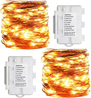 Koopower 2 Pack Battery Operated String Lights 33ft 100 Led Outdoor String Light Waterproof Decorative Copper Wire Lightwith Timer for Gardens,Gate,Yard,Party,Weeding, Christmas