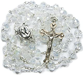 Glass Crystal CLEAR BEADS With SILVER PLATED ROSARY CROSS and HOLY LAND SOIL MARIA ICON …