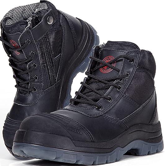 ROCKROOSTER Men's Work Safety Boots, Steel Toe, YKK Zipper