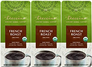 Teeccino Chicory Coffee Alternative – French Roast – Ground Herbal Coffee That's Prebiotic, Caffeine Free & Acid Free, Dar...